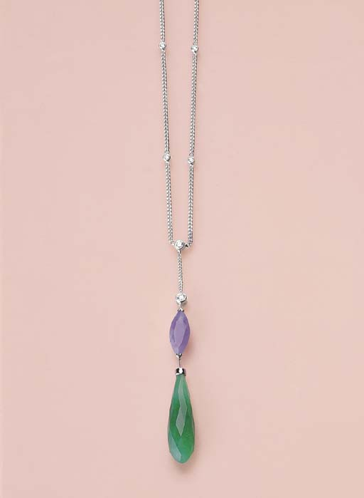 AN UNUSUAL GREEN AND LAVENDER