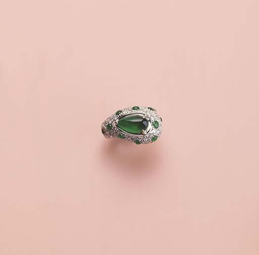 A UNIQUE JADEITE AND DIAMOND R