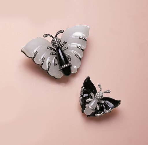TWO DIAMOND-SET BLACK NEPHRITE