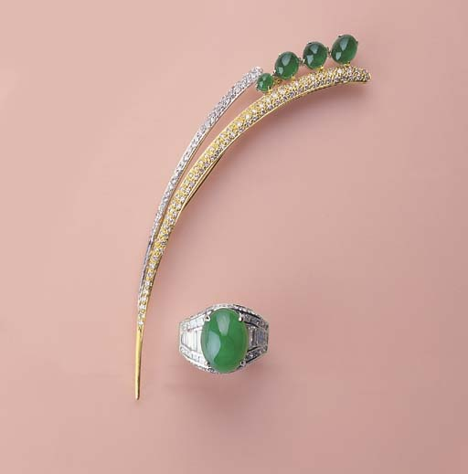 A JADEITE AND DIAMOND RING AND