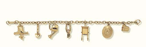 A GOLD CHARM BRACELET, BY CART