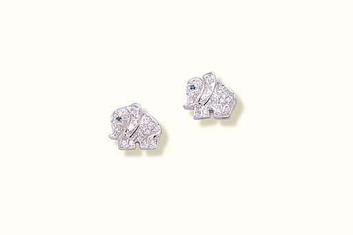A PAIR OF DIAMOND ELEPHANT EAR