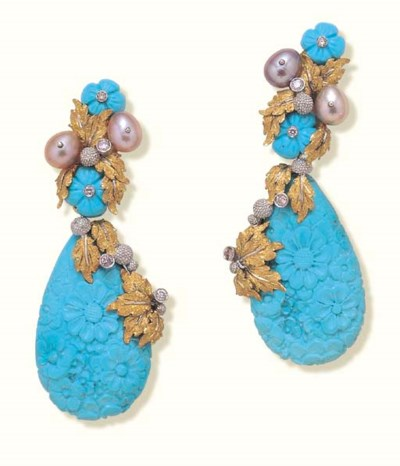 A PAIR OF TURQUOISE, PEARL AND