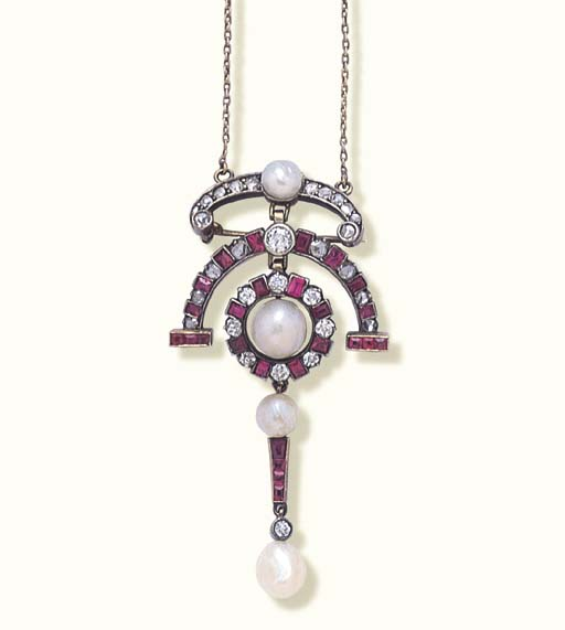 AN ANTIQUE RUBY, DIAMOND AND P