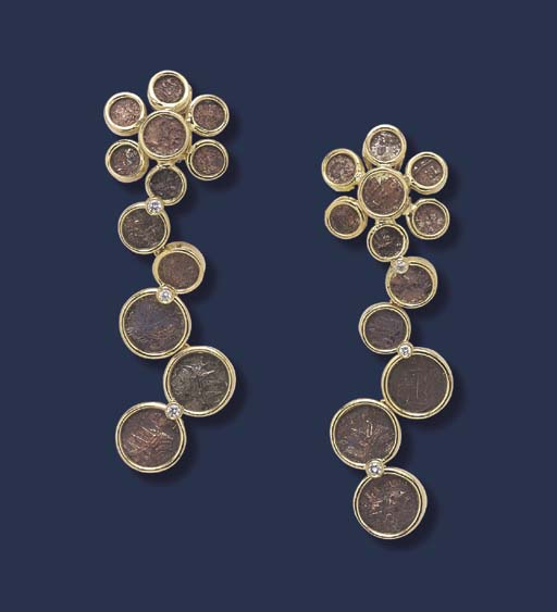 A PAIR OF ROMAN BRONZE COIN, DIAMOND AND GOLD PENDANT EARRINGS