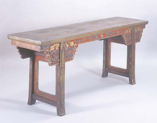 A CHINESE LACQUER AND GILT ALT