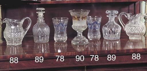 TWO IRISH REGENCY CUT GLASS JUGS