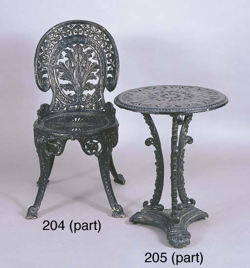 A SET OF FOUR VICTORIAN CAST-IRON TABLES