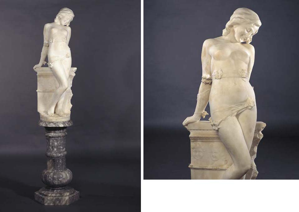 AN ITALIAN ALABASTER STATUE OF A NUDE MAIDEN