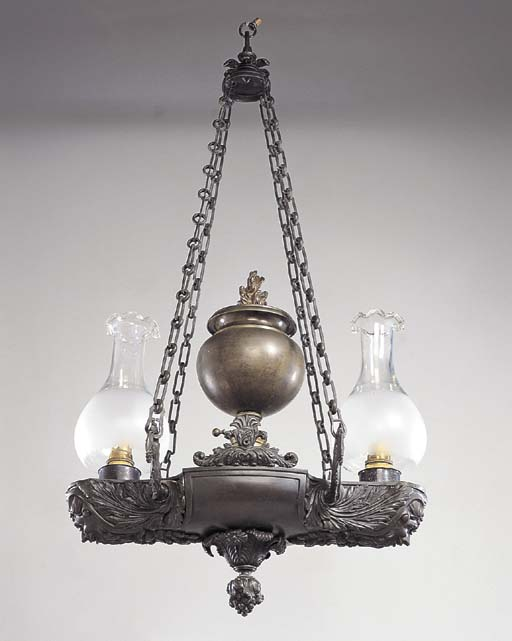 A GEORGE IV BRONZE TWO-LIGHT A