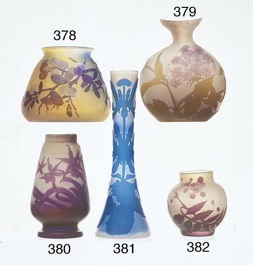 A PURPLE OVERLAID CAMEO GLASS VASE