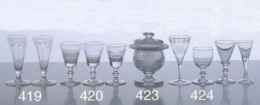 THREE GEORGIAN WINE GLASSES