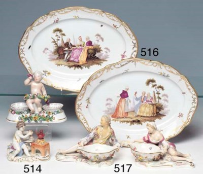 TWO PAIRS OF PORCELAIN FIGURAL