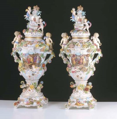 A PAIR OF DRESDEN FLORAL ENCRU