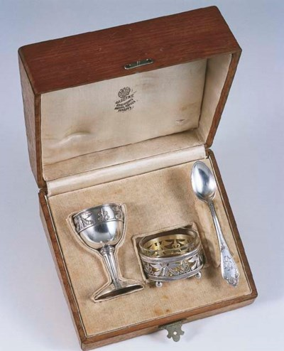 A RUSSIAN SILVER BREAKFAST SET