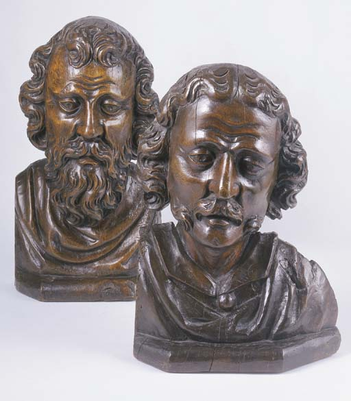 A PAIR OF FRENCH WALNUT BUSTS