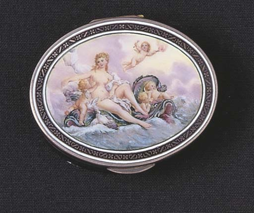 A FRENCH ENAMELLED SILVER BOX