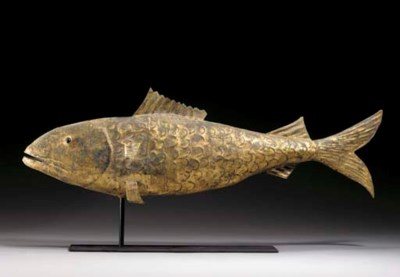 A MOLDED AND GILDED COD WEATHE