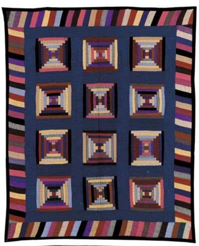 A PIECED WOOL AMISH CRIB QUILT