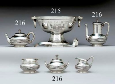 A SILVER TROPHY PUNCH BOWL AND