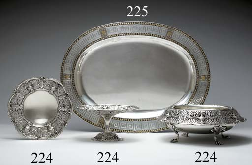 A SILVER CENTERPIECE BOWL AND TWO MATCHING COMPOTES