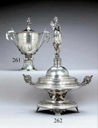 A SILVER-PLATED YACHT TROPHY C