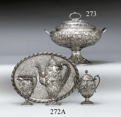 A THREE-PIECE SILVER DEMITASSE SERVICE WITH TRAY**