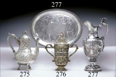 A SILVER PRESENTATION EWER AND