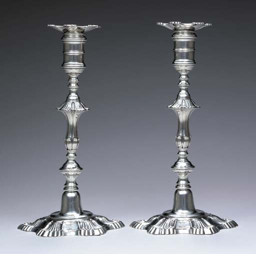 AN EXTREMELY RARE PAIR OF AMERICAN SILVER CANDLESTICKS