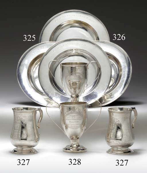 A PAIR OF SILVER TWO-HANDLED COMMUNION CUPS