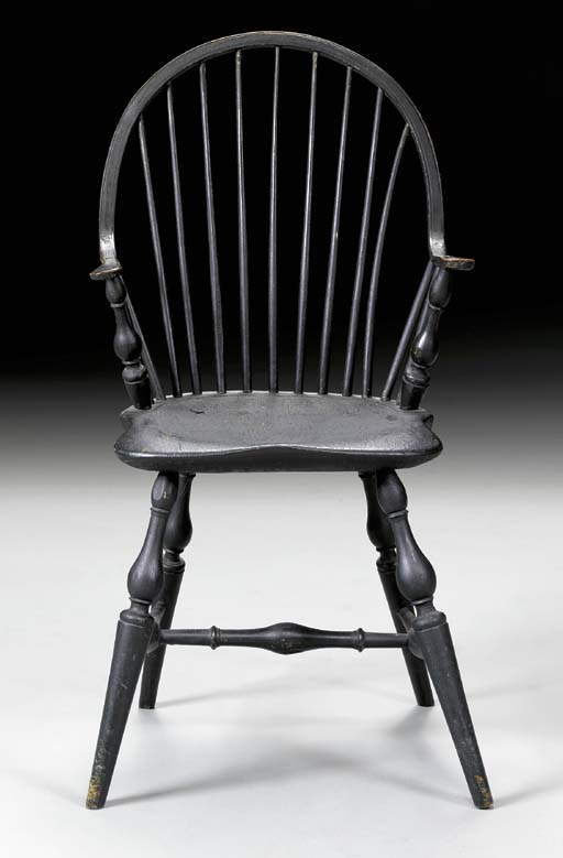 A BLUE-PAINTED CONTINUOUS-ARM WINDSOR ARMCHAIR