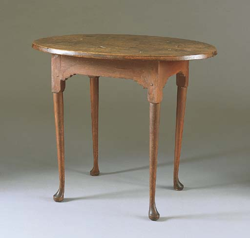 A QUEEN ANNE RED-PAINTED MAPLE TAVERN TABLE
