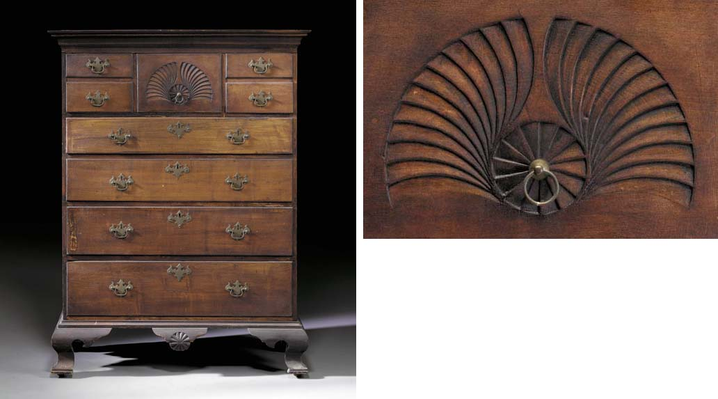 A CHIPPENDALE MAPLE TALL CHEST-OF-DRAWERS