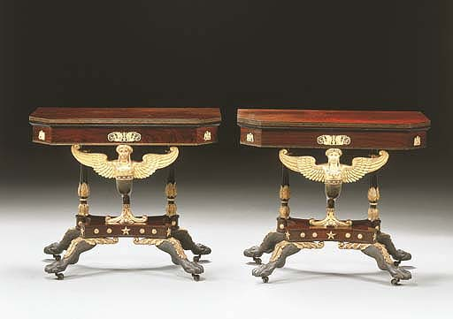 A CLASSICAL CARVED AND PARCEL-GILT ROSEWOOD CARD TABLE