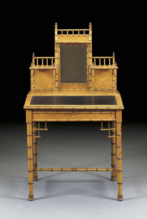 A MAPLE FAUX BAMBOO-TURNED DRESSING TABLE