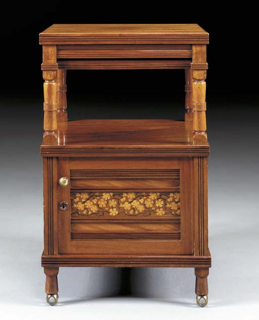 AN AESTHETIC MOVEMENT INLAID MAHOGANY STAND