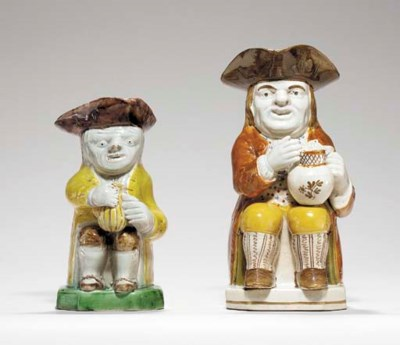 TWO YORKSHIRE PEARLWARE TOBY-J
