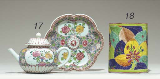 A FAMILLE ROSE TEAPOT, COVER AND STAND