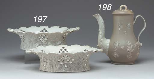 A PAIR OF STAFFORDSHIRE SALTGLAZED RETICULATED BASKETS