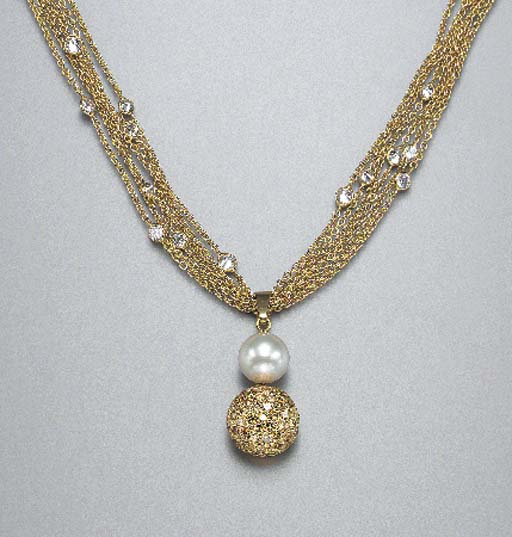 A DIAMOND AND CULTURED PEARL NECKLACE