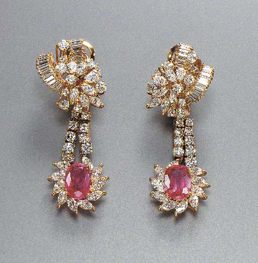 A GROUP OF RUBY AND DIAMOND JEWELRY