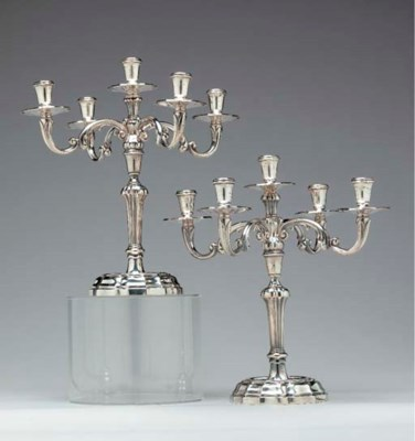 A PAIR OF ITALIAN SILVER CANDE
