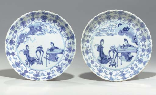 A Pair of Blue and White Molde