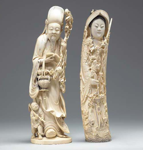 **Two Chinese Ivory Carvings o