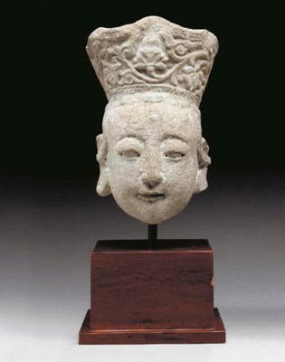 A Grey Stone Head of a Bodhisa