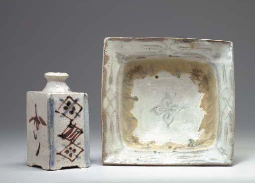 A Japanese square stoneware bo