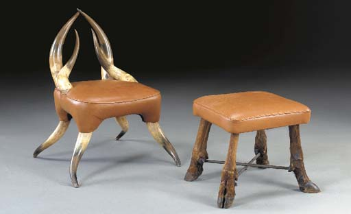 A LONGHORN CHAIR AND REINDEER-