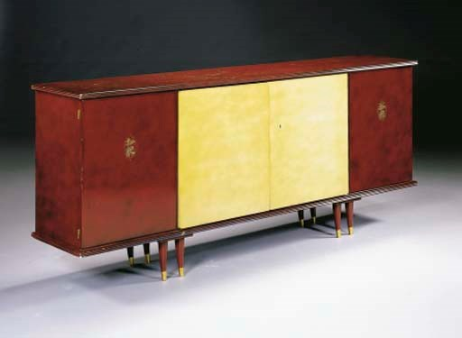 AN INLAID, LACQUERED AND PARCH