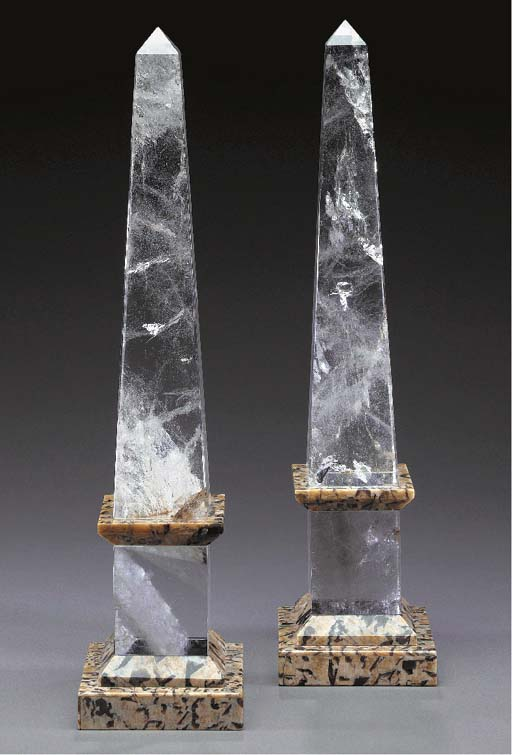 A PAIR OF LARGE ROCK CRYSTAL O