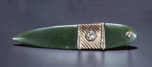 A JEWELLED GOLD NEPHRITE LETTER OPENER
